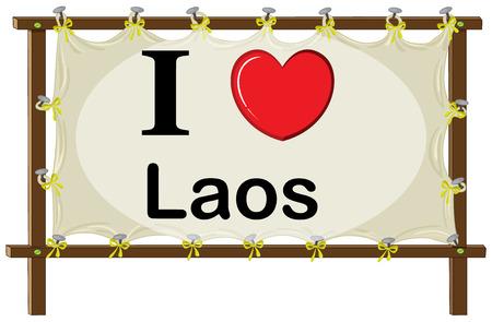 wooden frame: I love Laos wooden frame