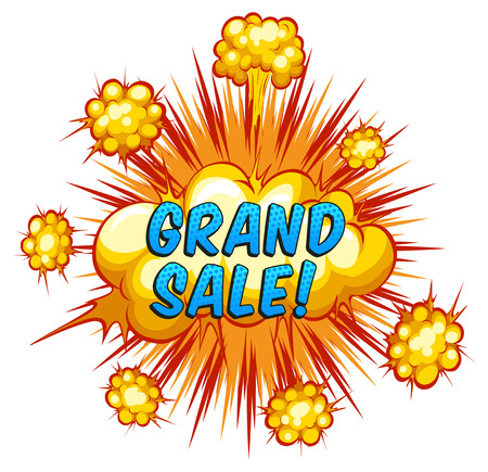 grand sale: Word grand sale with cloud explosion background