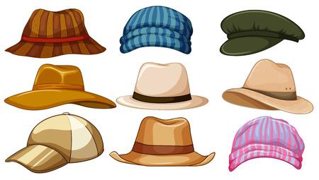 流行に敏感な帽子の異なる種類  イラスト・ベクター素材