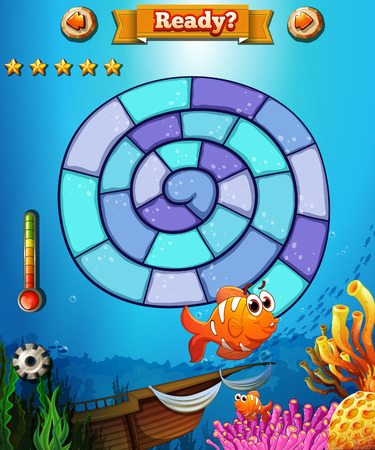 ocean view: Boardgame template with ocean view background Illustration