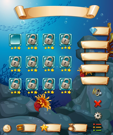 computer game: Computer game template with underwater scene Illustration