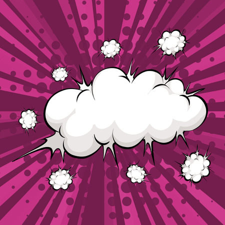 blank bomb: Cloud explosion with purple light beam background