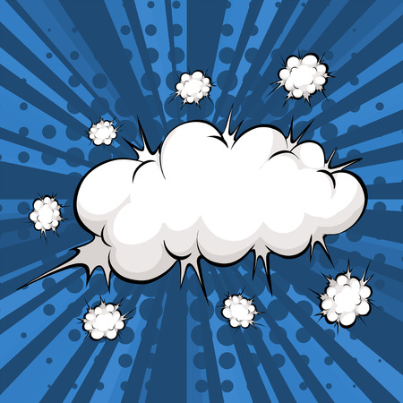 Cloud explosion with blue background