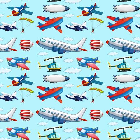 シームレスな各種航空機  イラスト・ベクター素材