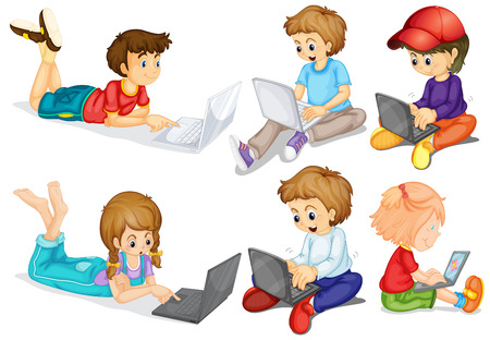 personal computers: Boys and girls on their personal computers Illustration