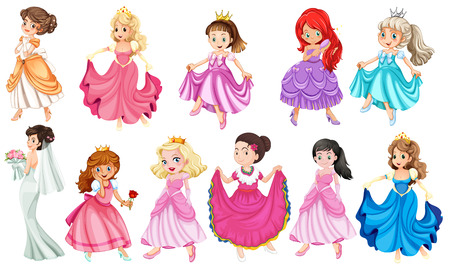 Princess in different beautiful dresses Ilustração