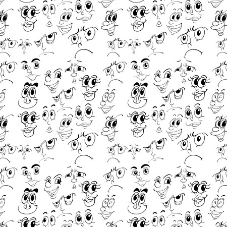 Seamless doodles of different facial expressions Vector