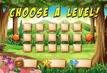 computadora caricatura: Plantilla juego con el fondo del bosque Vectores