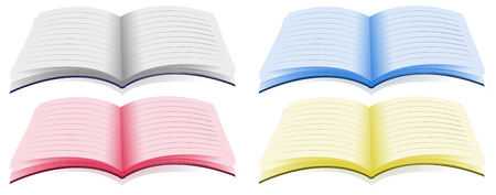 supple: Four opened book with different colors Illustration