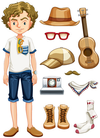 young man jeans: Teenager hipster and many items Illustration