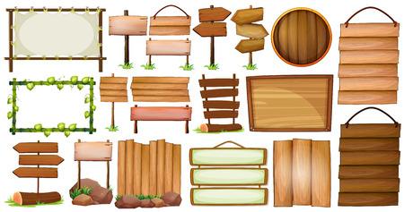 Verschiedene Ausführungen von Holzrahmen und Zeichen