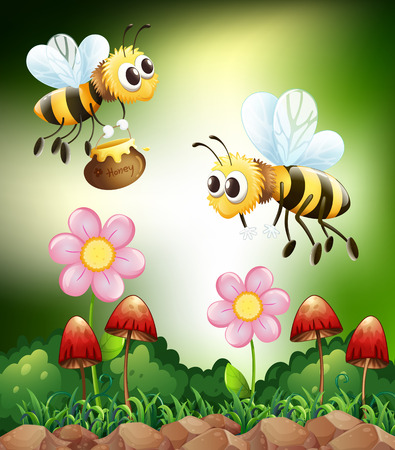 Two bees collecting honey from flowers
