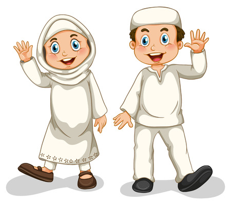 笑みを浮かべて男の子と女の子のイスラム教徒