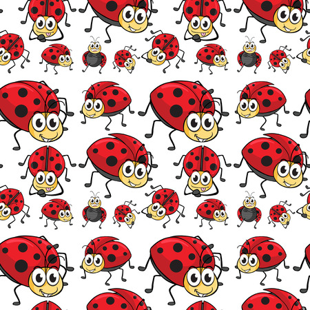 differnt: Seamless ladybugs in differnt positions Illustration