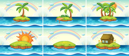 Six scenes of island in the middle of the ocean Vector