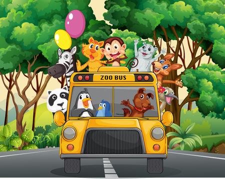 Различные животные, верхом на автобусе зоопарка