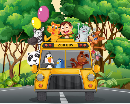 zoo: Different animals riding on a zoo bus Illustration