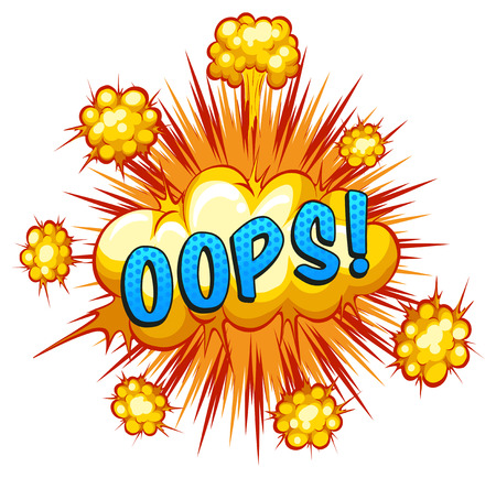 Word oops with cloud explosion background Vector