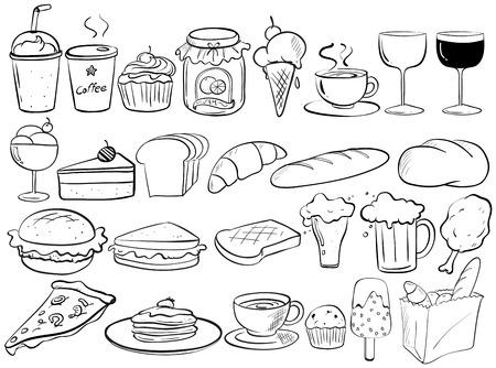 Diferentes tipos de garabatos de alimentos Ilustración de vector
