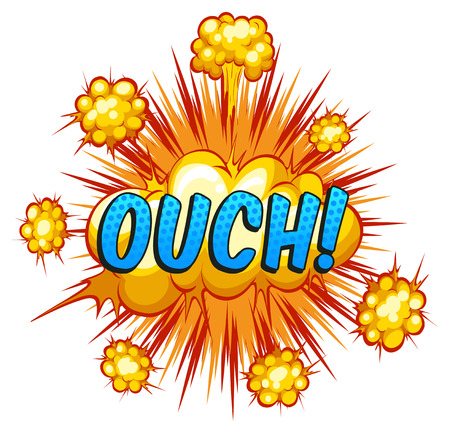 ouch: Ouch expression with cloud explosion background