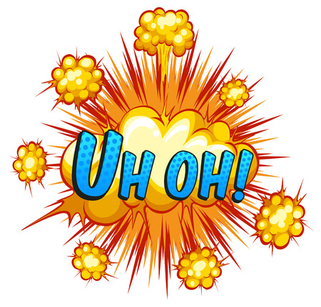 Word uh oh with cloud explosion background Vector