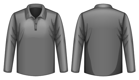 black shirt: Front and back view of black shirt Illustration