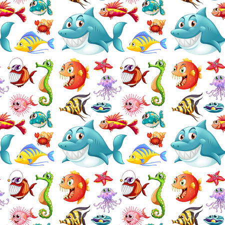 ocean cartoon: Seamless many kinds of sea animals