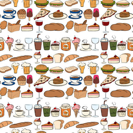 sandwich white background: Seamless all kind of food