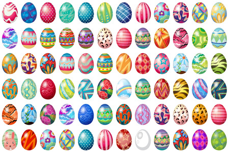 Different design of easter eggs