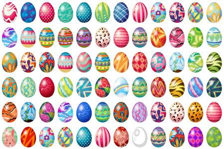 cartoon egg: Different design of easter eggs