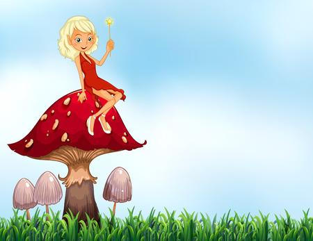 Fata seduta su di funghi