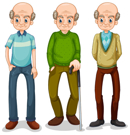 old people smiling: Old man in different clothes