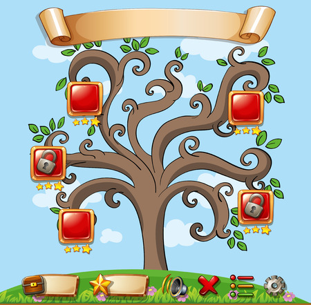 computer game: Computer game template with tree in the background Illustration