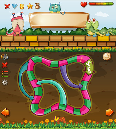 fantacy: Maze game template with many monsters Illustration