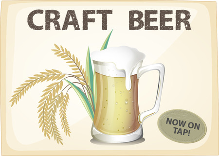 draughts: Advertisement poster of craft beer Illustration