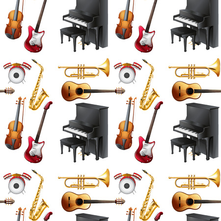 Seamless musical instrument with piano and violin Vector
