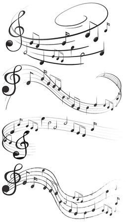 Vier set van muzieknoten