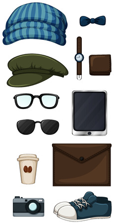 belongings: Different type of hipster items