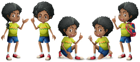 cartoon human: African boy with different positions Illustration