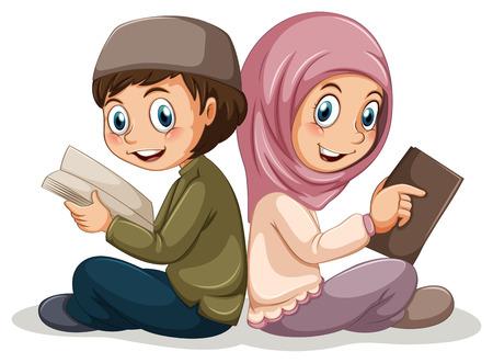 2 人のイスラム教が一緒に本を読む  イラスト・ベクター素材