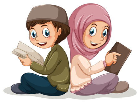 kid reading: Two muslims reading books together Illustration