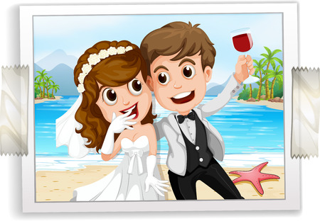 cartoon wedding couple: Wedding couple photo with ocean view in the back Illustration