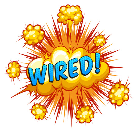 Word wired with cloud explosion background Vector
