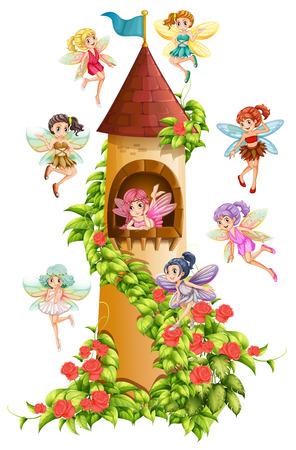 Fairies flying around the castle tower 일러스트