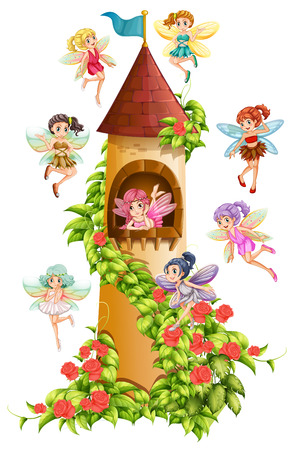cute girl cartoon: Fairies flying around the castle tower Illustration
