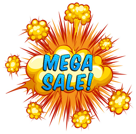 Mega sale with cloud explosion background Vector