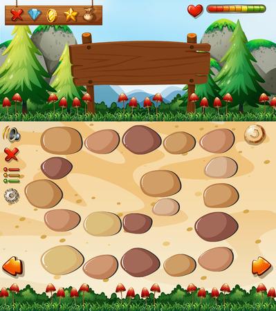 button mushroom: Boardgame template with nature scene
