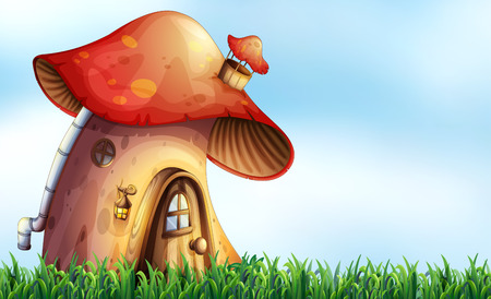 Close up mushroom house on the field