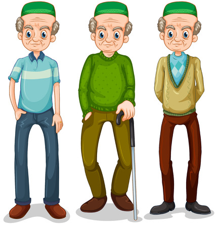 guy with walking stick: Old muslim man in different clothes