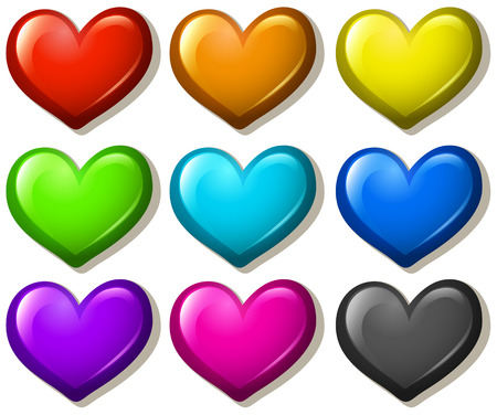 shiny heart: Different colors shiny heart shape